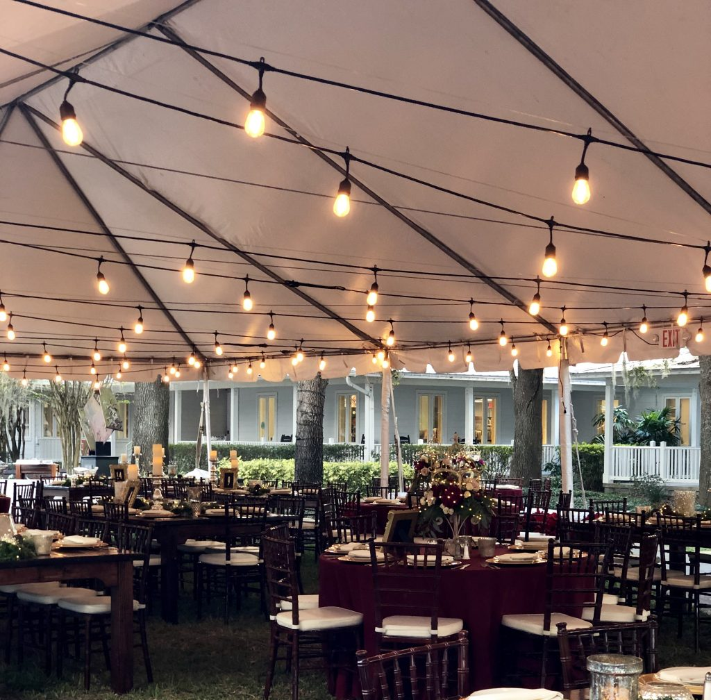Market lights for a wedding in a tent