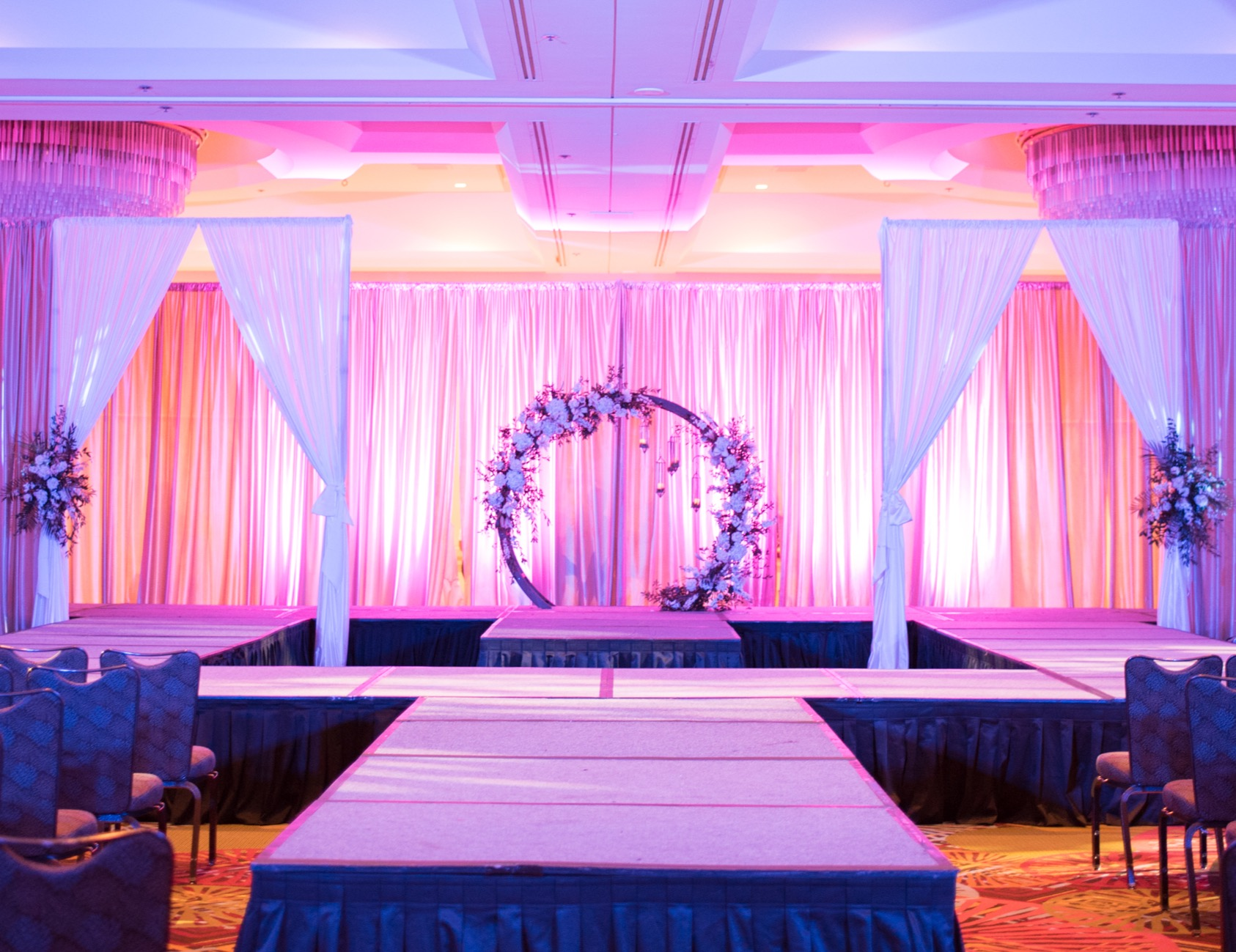 Stage lighting for a wedding fashion show